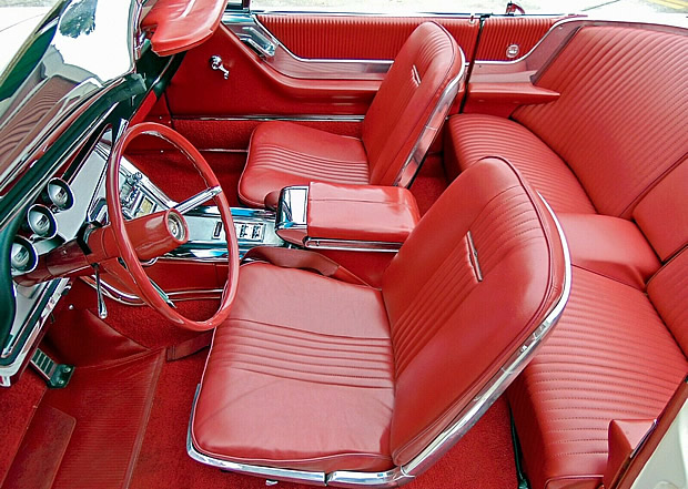 Gorgeous interior of a 64 Ford Thunderbird convertible