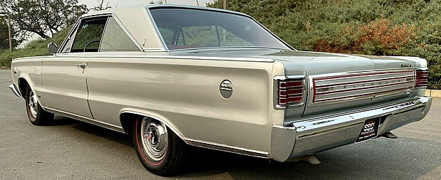 Rear view of a 426 Hemi equipped 66 Plymouth Satellite