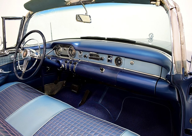 leather interior of the 54 Buick Skylark convertible