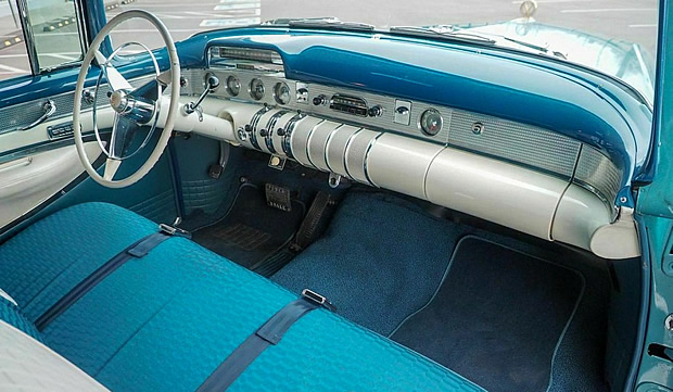 Interior of a 55 Buick Roadmaster Riviera Hardtop
