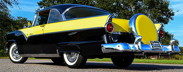 Rear View of a 55 Ford Fairlane Victoria