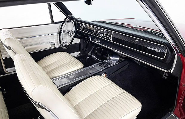 bucket seat interior of a 1966 Dodge Coronet 500