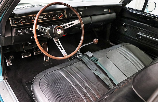Bench seat interior of a 1969 Road Runner by Plymouth