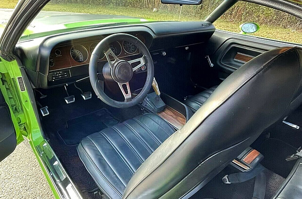 All vinyl, bucket seat interior of a 1970 Dodge Challenger R/T
