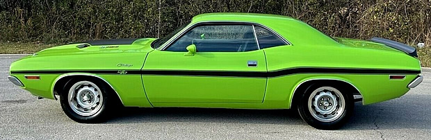 Side view of a 70 Dodge Challenger R/T in Sublime