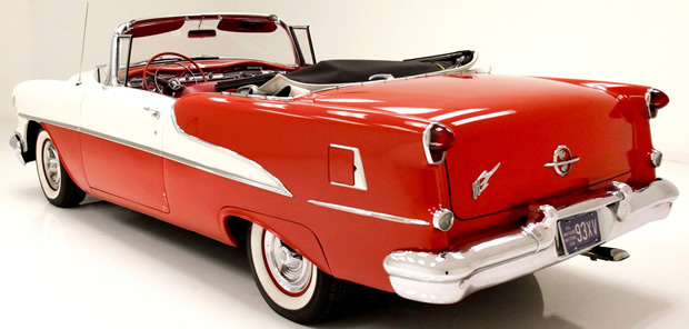 Rear view of a 55 Oldsmobile Super 88 Convertible