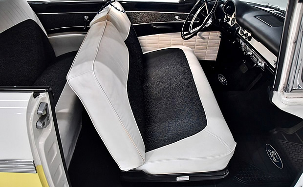 black cloth and white vinyl interior in a 56 Ford
