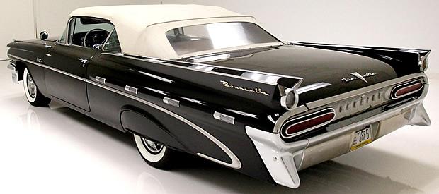 Unique tail fins of the 59 Pontiac